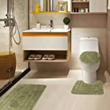 """Golden Linens 3 Piece Bath Rug Set Solid Color Pattern Carved Extra Soft Touch and Absorbent Bathroom Rug (Bath mat 20"""" X 30"""""""