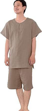 [パジャマ工房] メンズ パジャマ 半袖 かぶり 丸首 綿100% 二重ガーゼ(ダブルガーゼ) [504]