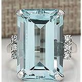 Zhiwen Vintage Fashion Women 925 Silver Aquamarine Gemstone Ring Engagement Wedding Jewelry Size 5-11 (9#)