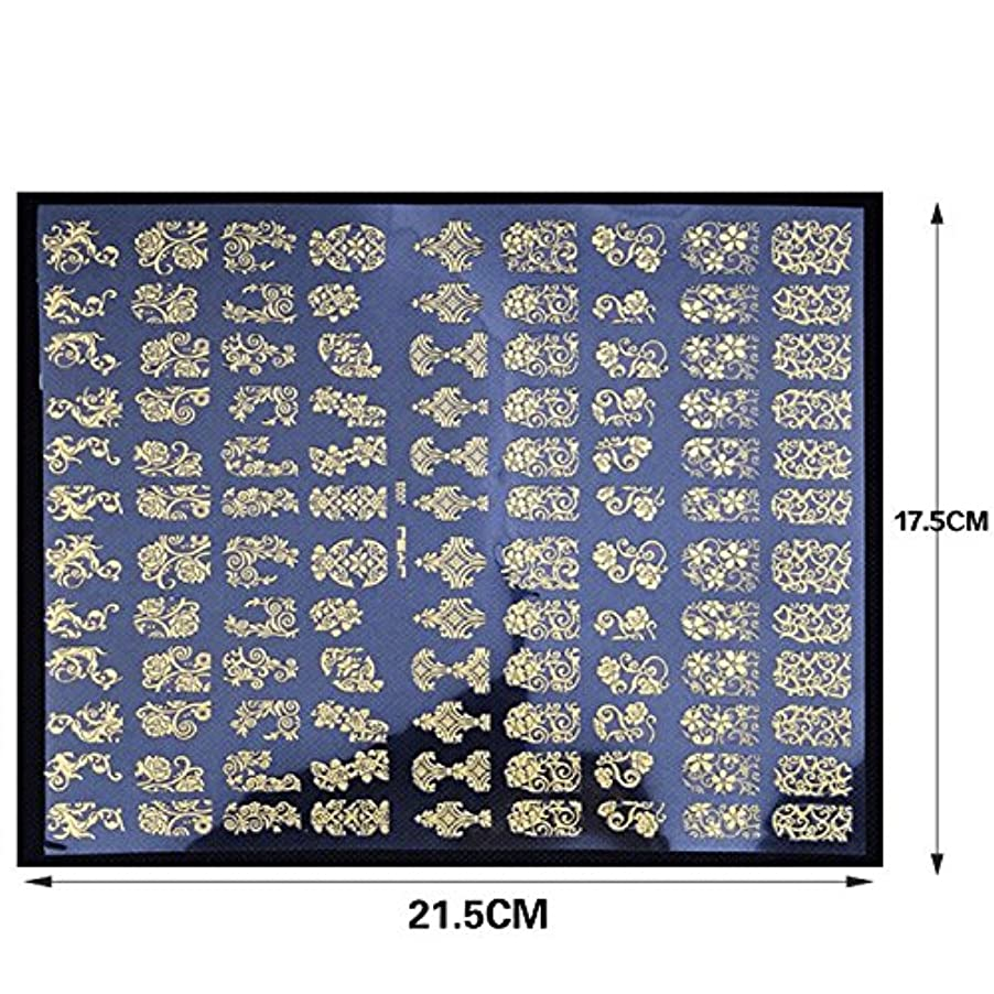 ネイルステッカー 1シート108枚 / ネイルシール/ネイルホイル/ネイルアートテープ/デコレーション/ジェルネイル (Gold)