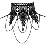 iWenSheng Halloween Costumes Jewelry for Women - Steampunk Black Lace Choker Necklace Gothic Jewelry Accessories, Vampire Cho
