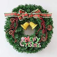 クリスマス リースベル/蝶結びPVC素材クリスマスリース クリスマス花輪 デコレーション かわいい オーナメント 飾り付き 玄関リース 部屋 飾り,C,50cm