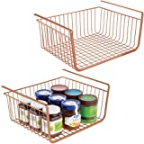 mDesign Household Metal Under Shelf Hanging Storage Bin Basket with Open Front for Organizing Kitchen Cabinets, Cupboards, Pa