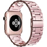 Simpeak Band Compatible with iWatch 38mm 40mm, Stainless Steel Wirstband Strap Replacement for iWatch Series 5 4 3 2 1, Rose