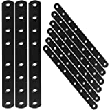 "12PCS Mending Plates, 10""Heavy Duty Flat Straight Brackets, Black Metal Mending Plate for Repairing Wood Furniture Dresser Sh"