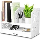 Small Bookshelf for Desktop Storage, Mini Narrow Desk White Ladder Organizers for Women, Kids, Men for Office Decor Accessori