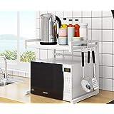 Outpicker レンジ台 幅伸縮式幅43-65cm 電子レンジラック 2段式 荷重32kg キッチン 収納 棚 トー…