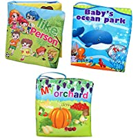 Agooding Nontoxic Soft Cloth Baby Books Set of 3-Bright Color Pictures for Boys or Girls-visual Learning,expression Keepsake. by Agooding