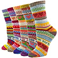 5 Pairs Women Wool Socks Colorful Heart Winter Soft Thick Knit Crew Warm Sock