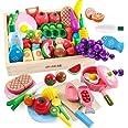 木玩社のままごと 知育玩具 天然木 お肉&お魚&果物&食器セット 積み木 組み立て 切る遊び 木製おもちゃ 食器ボックス プレゼント ギフト