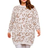 Allegrace Women Plus Size Pullover Sweaters Long Sleeve Leopard Print Knitted Crew Neck Warm Sweater Tops