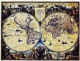 O'z star 世界 地図 アンティーク 調 おしゃれ な 古地図 風 布 製 ポスター インテリア コレクション に (Aタイプ)