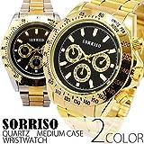 メンズ腕時計ゴールドカラーミディアムケースゴールドブラック