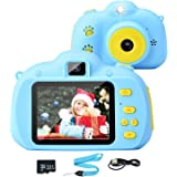 Tobeape Kids Camera, 8.0MP Rechargeable Kids Digital Camera with 2.4 Inch 1080P Screen, Front and Rear Lens Child Camcorder,