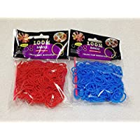 [Artasy ™][並行輸入品] DIY 凹凸カラーゴムバンドブレスレット (レッド + ブルー) Loom Bands refill Pack - (300 + 300 pcs) Unevenness rubber ring Color: red + blue