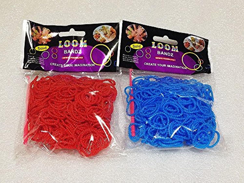 [Artasy ™][並行輸入品] DIY 凹凸カラーゴムバンドブレスレット (レッド + ブルー) Loom Bands refill Pack - (300 + 300 pcs) Unevenness rubber ring Color: red + blue