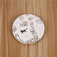 HuaQingPiJu-JP クラフト装飾化粧品アクセサリーのためのミニ丸型猫のパターン小さなガラスミラー