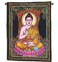 Indian Lord仏陀タペストリーMeditating壁吊り装飾29x 23インチ