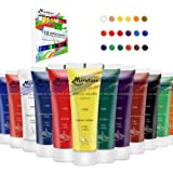 Acrylic Paints Set (18colors, 1.2oz/37ml) Rich Pigments, Non Fading Paint for Canvas Painting, Non Toxic Acrylic Paints for A
