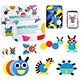DalosDream Wooden Pattern Blocks Animals Jigsaw Puzzle for Kids Sorting and Stacking Games Preschool Educational Toy STEM Mon
