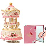Carousel Music Box 3-Horse Clockwork Mechanism Cute Toy Musical Box for Children Girl Birthday Gift Melody is Castle in The S
