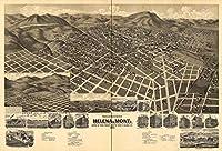 マップAerial Birds Eye View Helena Montana 1890大壁アートプリントポスターlf2550