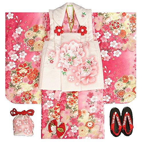 七五三 着物 被布セット 3歳 女の子 マユミ 濃淡ピンク地...