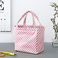 サーマルランチバッグ シンプルなポータブルバッグランチ冷蔵フレッシュランチバッグ(ピンクのストライプ)
