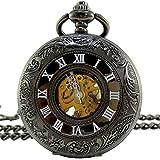[モノジー] MONOZY 機械式 手巻き 懐中時計 - ブラック クローム - 両面 スケルトン ハーフハンター【収納袋、化粧箱】アンティーク 懐中時計
