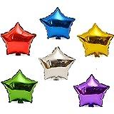 【ノーブランド品】 星形 アルミバルーン 6色セット 45.5cm アルミ風船
