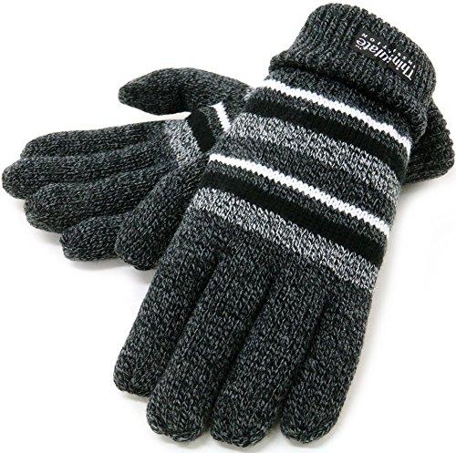 (シンサレート) Thinsulate 手袋 メンズ ニット グローブ ボーダー 高機能中綿素材 5color