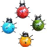 GIFTME 5 Metal Garden Wall Art Decorative Set of 4 Cute Ladybugs Wall Sculptures