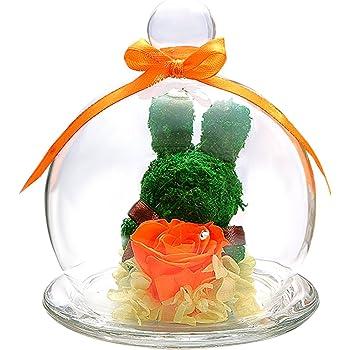 TEATSIGHT プリザーブドフラワー アニマルモス ガラスポット入り フラワーアレンジ ラッピング済み(うさぎ バラ オレンジ)