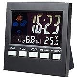 Littleliving デジタル温度計 目覚まし時計 温度計室内 音センサー 高精度 小型 温湿度計 卓上時計 クロック (時計/アラーム/カレンダー/スヌーズ機能/温度計/湿度計/天気予報搭載)多機能置き時計