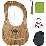 """OW"" Lyre Harp 10 Metal String Bone Saddle Mahogany Lye Harp with Tuning Wrench and Lyre Harp Bag"