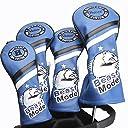 Guiote ゴルフヘッドカバー Golf head covers クラブヘッドカバー ウッドカバー ドライバー 新デザイン 交換可能な番号タグ付き( 2. 3. 4. 5.X) 4個セット (Beast Mode-Blue)