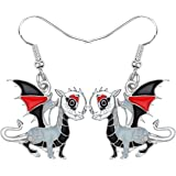 BONSNY Enamel Fantasy Colorful Dragon Earrings for Girl Kids Jewelry Novelty Funny Cute Charms Original Design