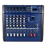 ammoon パワー ミキサー 6チャンネル デジタル マイク ライン オーディオ ミキシング コンソール 増幅器 USB/ SDスロット付き レコーディング DJステージ カラオケなど用 PMX602D-USB
