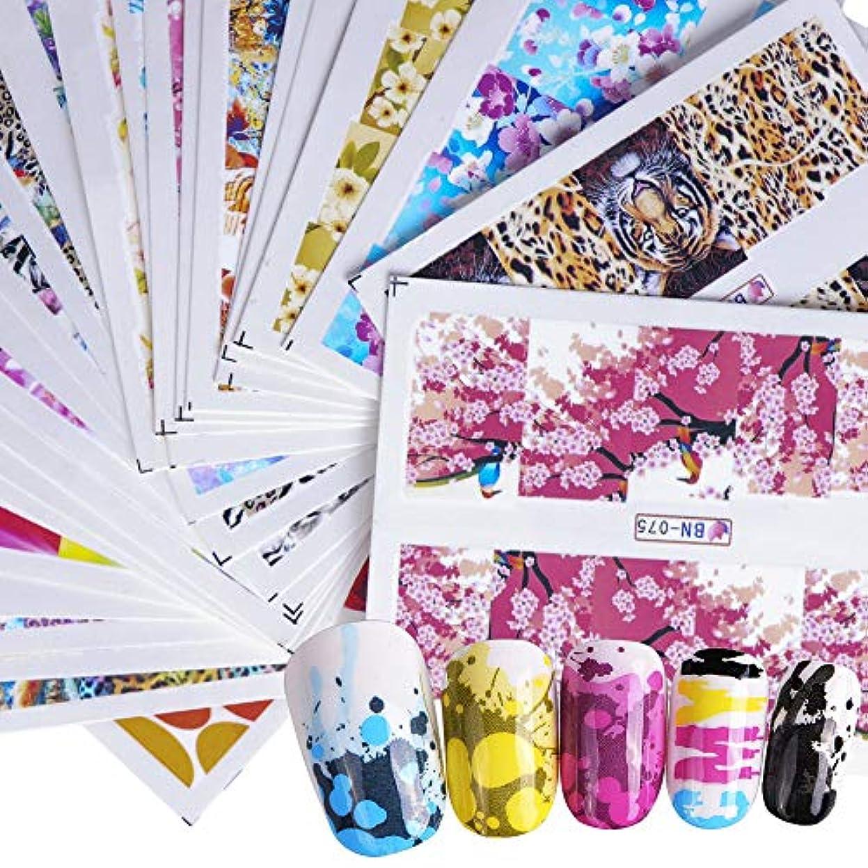 実際に可愛いハウス48枚セット 春 フラワー花 ネイルシール ウォーターネイルシール ジェルネイル セルフネイル レジン 夏 ネイルシール ピンクフラミンゴシール ピンク