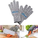 防刃 グローブ Kpaco 料理用切れない手袋 耐切創レベル5 防刃グローブ 作業用手袋 アウトドア ナイフ 高強度 ポリエチレン 繊維混紡手袋(1双) - ブラウン