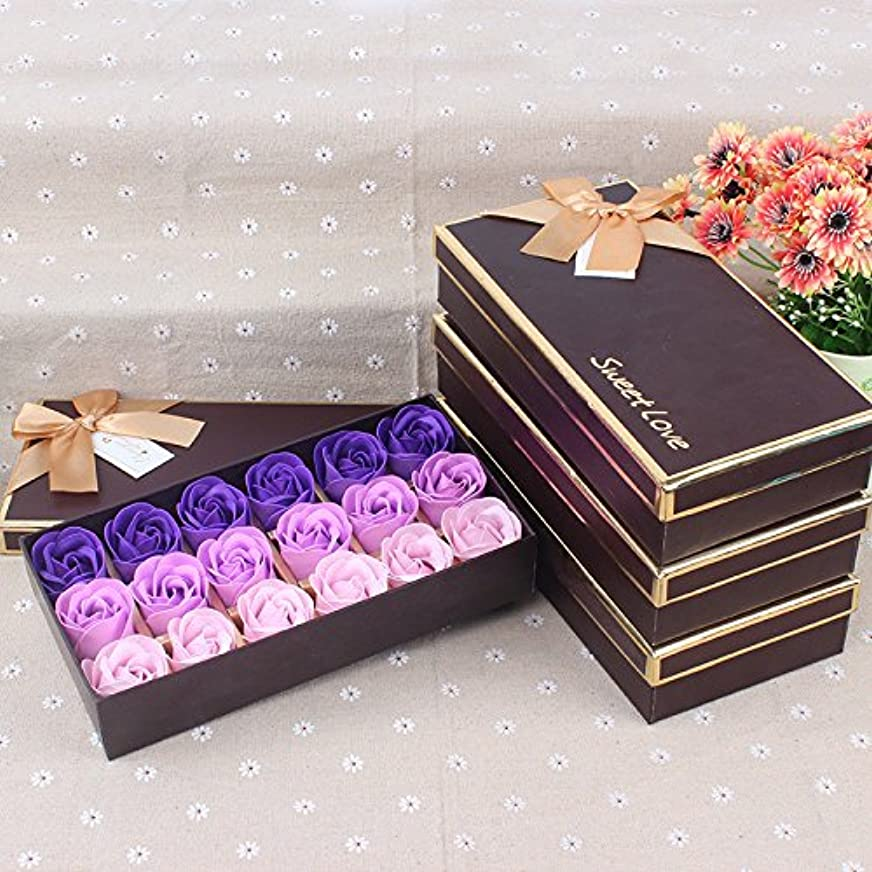 貫入謎コンプリートWeryn(TM)結婚式のためのギフトボックスバレンタインデーの愛の贈り物で18バラセット香りの入浴ソープローズソープ花びら[Purplegradient]