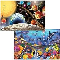 Melissa & Doug Jumbo Jigsaw Floor Puzzle Set - Solar System and Underwater (2 x 3 feet each) [並行輸入品]