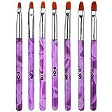 NEJLSD 7Pcs UV Gel Nail Art Painting Brush Design Tools Nail Art Tips Builder Brush Pen Flower Drawing Pen for Professional S