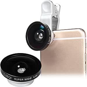 LIEQI 広角レンズキット 0.4倍率 スーパーワイド ケラレなし スマホカメラレンズ 景色をワイド撮影 iphone ipad Samsung Galaxy Androidスマホ タブレット対応 (シルバー)