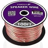 Fosmon 12AWG(銅とアルミのクラッド鋼素材)CCA スピーカーケーブル / スピーカーワイヤー【12ゲージ | 30メートル】極性を識別するための赤線が付