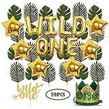 Wild One バースデーデコレーション 1st Baby Girl/Boy バースデーパーティーハット グリーンクラウン グリーンヘアバンド付き 24個 人工ヤシの葉 16インチ 「ワイルドワン」バルーン 6個 スターバルーン ワイルドワンケーキトップ