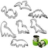 Dinosaur Cookie Cutter Set 7 Pcs - Stegosaurus/Dinosaur Baby/T-Rex/Leaellynasaura/Triceratops Mould, AFUNTA Stainless Steel C
