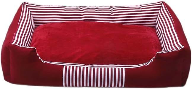 ペットベッド印刷キャンバスケンネルフォーシーズンユニバーサルソフトで快適な通気性防水滑り止め丈夫なマルチカラーA04 ペットベッド (色 : Red, サイズ さいず : M)