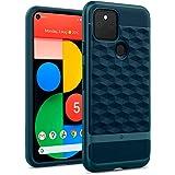 Caseology Google Pixel 5 ケース TPU PC カバー 耐久性 立体パターン グリップ感 パララックス (アクア・グリーン)