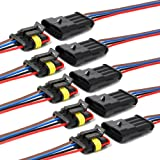 YETOR Way Car Waterproof Electrical Connector,4 pin Plug Auto Electrical Wire Connectors with Wire 16 AWG Marine for Car, Tru
